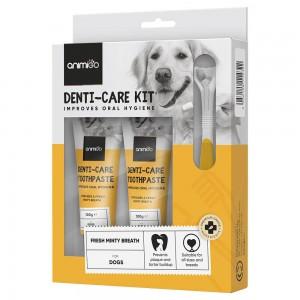 Kit Denti-Care - Dentífrico Comestible y Accesorios para Gatos y Perros - Animigo - 2 x 100g